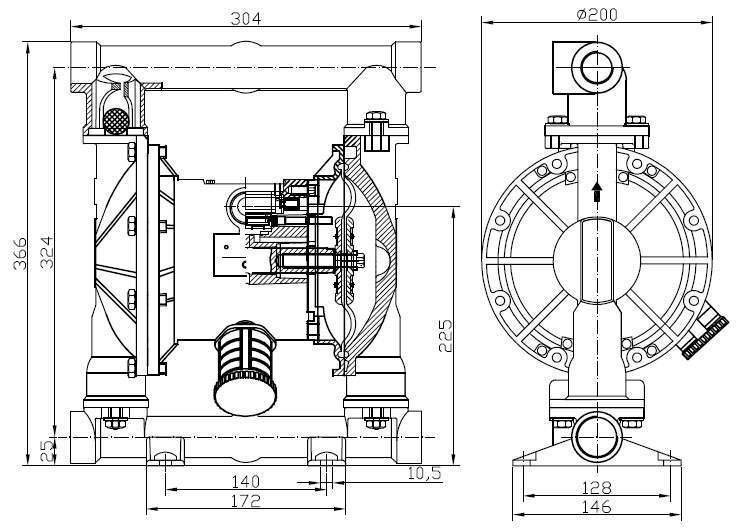 mbv25 diaphragm pump ductile iron emoclew america. Black Bedroom Furniture Sets. Home Design Ideas